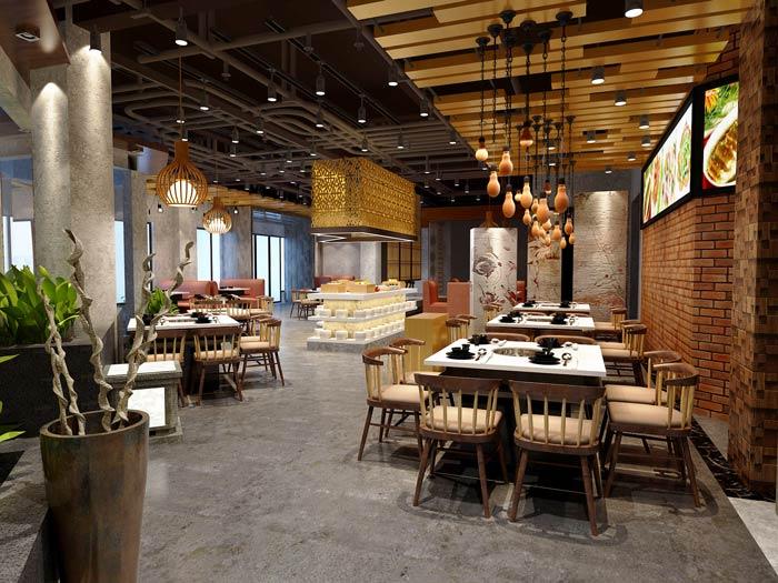 景区私家菜馆餐区装修设计效果图