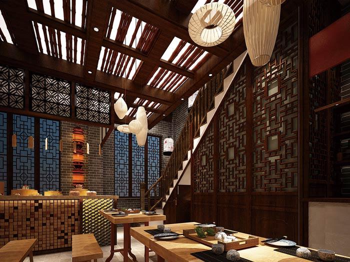中式面馆楼梯口装修设计:客户进入二楼之后,首先看到的就是老式