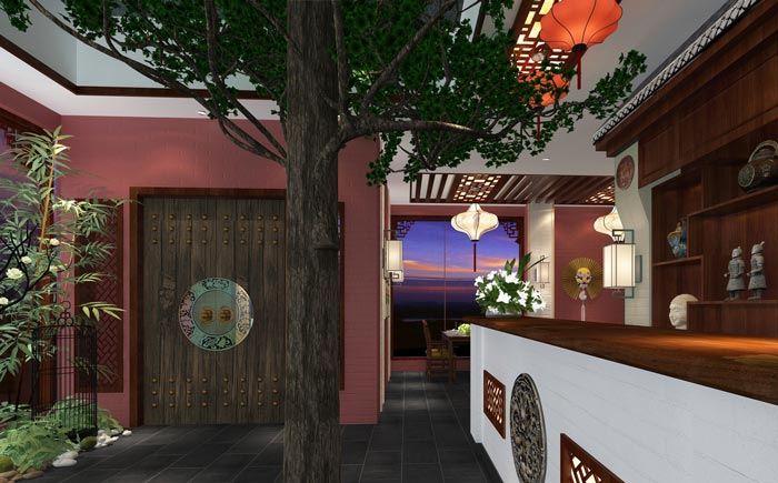 新中式川菜馆进门区装修设计效果图