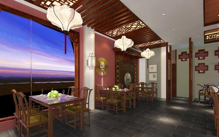 新中式川菜馆窗台餐区装修设计效果图