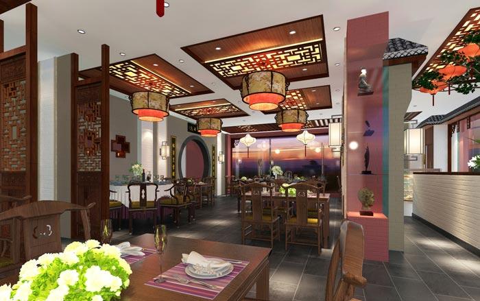 新中式川菜馆一楼餐区装修设计效果图