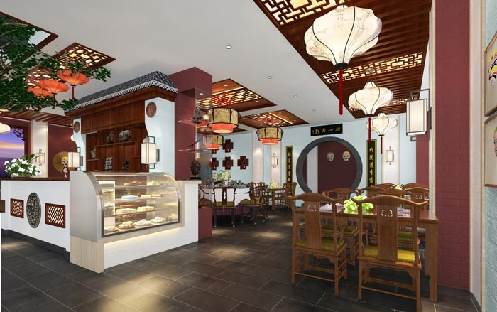 新中式川菜馆甜品区装修设计效果图