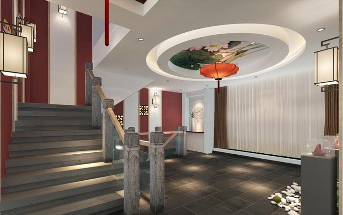 新中式川菜馆楼梯装修设计效果图