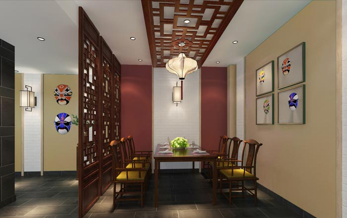 新中式川菜馆开放包厢装修设计效果图