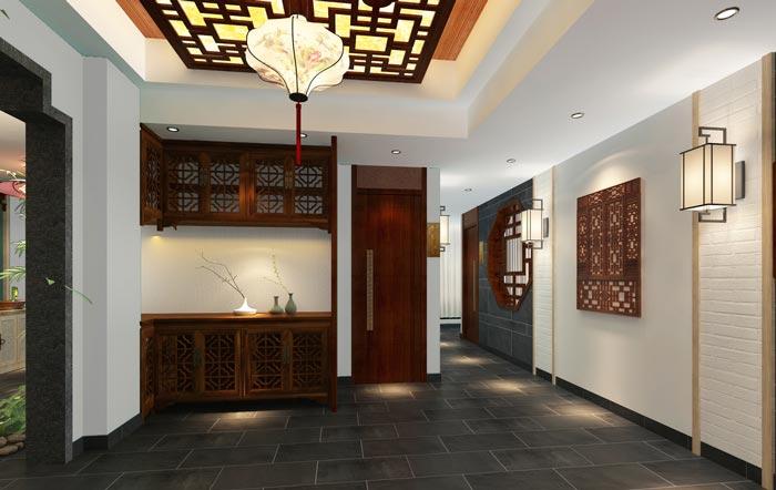 新中式川菜馆二楼玄关装修设计效果图