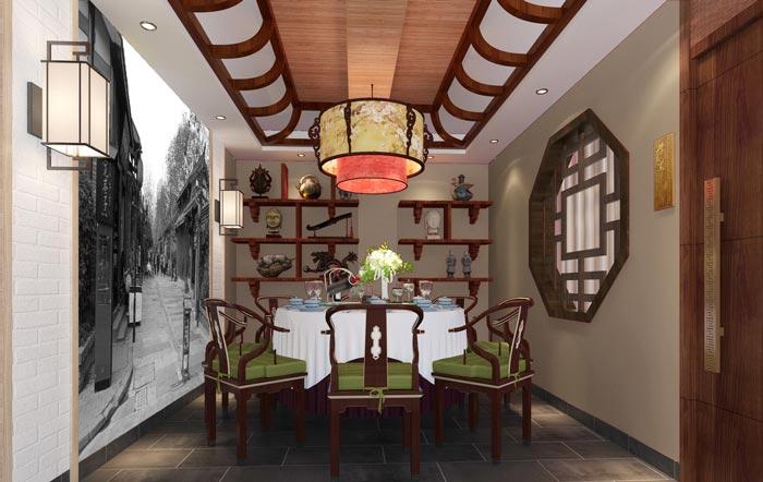 新中式川菜馆6人包厢装修设计效果图