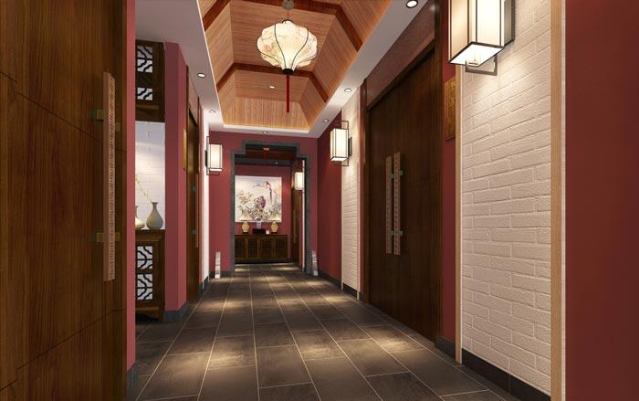 新中式川菜馆二楼过道装修设计效果图