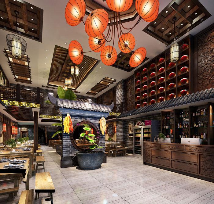 中式川菜馆大厅装修设计效果图