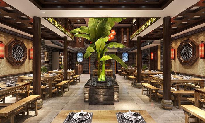 中式川菜馆一楼餐区装修设计效果图