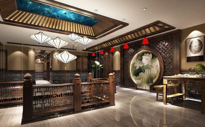 中式川菜馆二楼玄关装修设计效果图