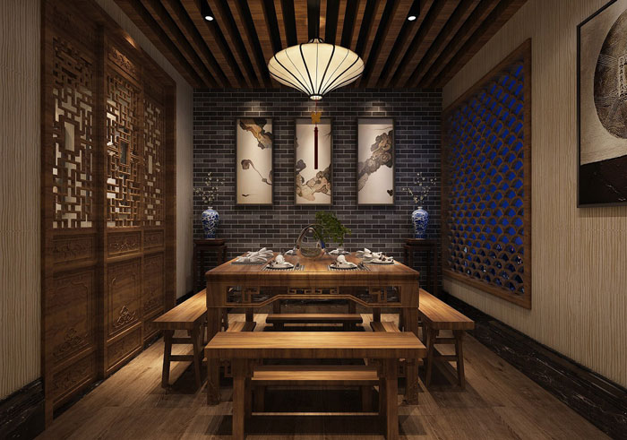 中式川菜馆二楼包厢装修设计效果图