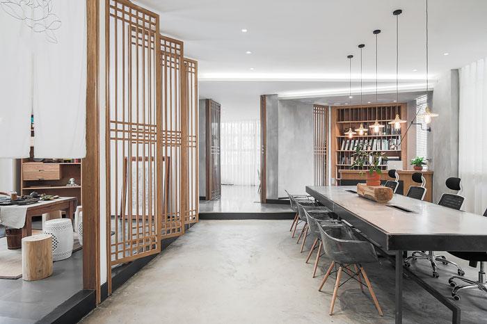 小型茶室设计_新中式风格办公室装修效果图_岚禾设计