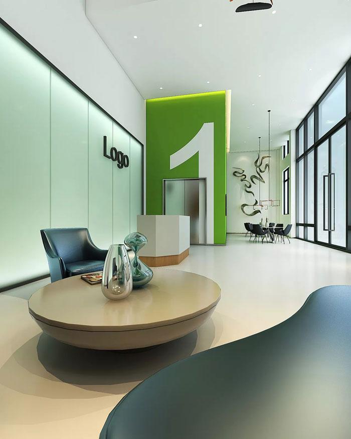 出口型企业办公室1楼大厅装修设计效果图