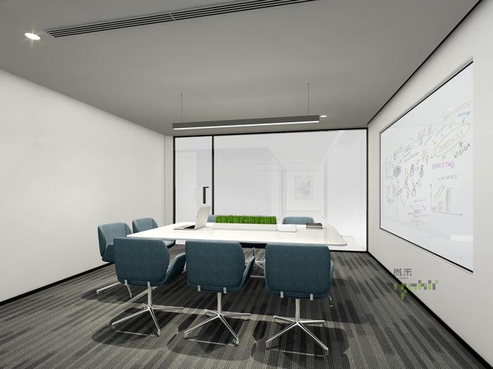 律师事务所办公室雾化小会议室装修效果图