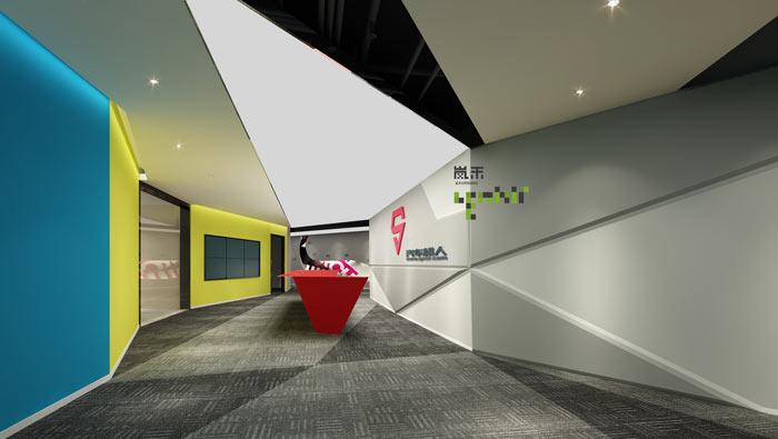 网络科技公司办公室20楼前台装修设计效果图