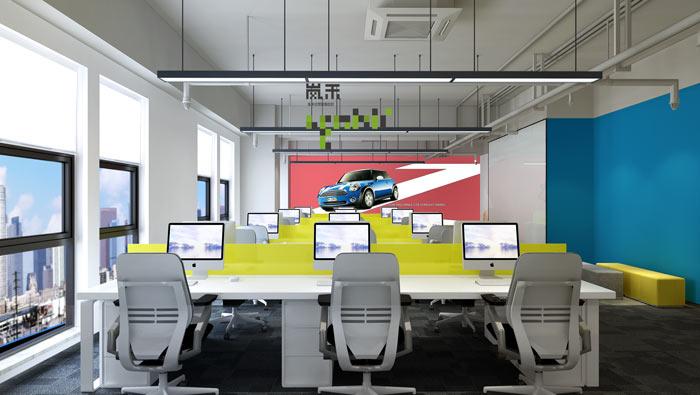 网络科技公司办公室20楼开敞办公装修设计效果图