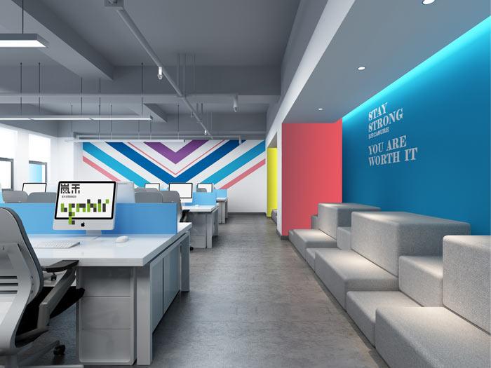 网络科技公司办公室18楼办公区装修设计效果图