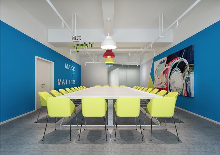 网络科技公司办公室18楼会议室装修设计效果图