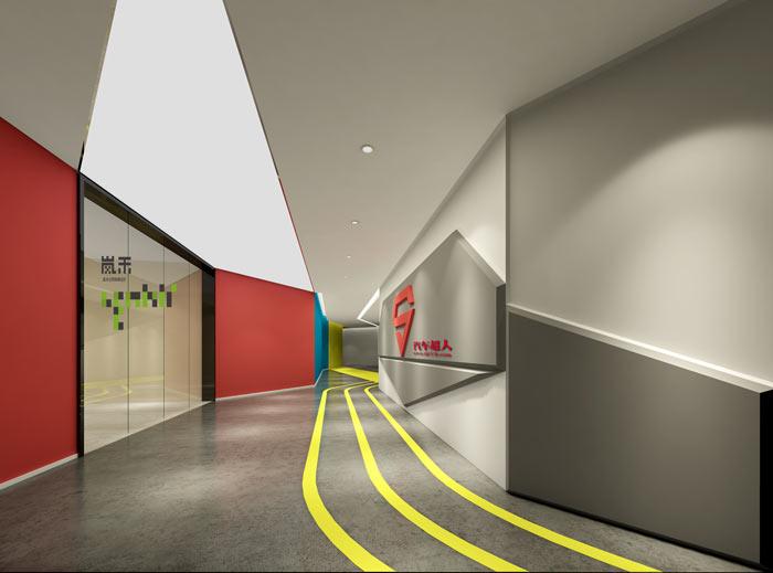 网络科技公司办公室19楼前台装修设计效果图