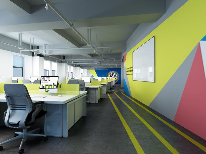 网络科技公司办公室19楼办公区装修设计效果图