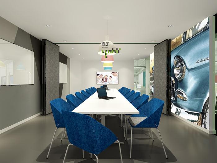 网络科技公司办公室19楼小会议室装修设计效果图