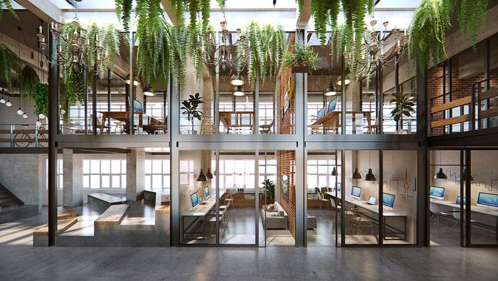 loft风格众创空间办公室办公区装修设计效果图图片