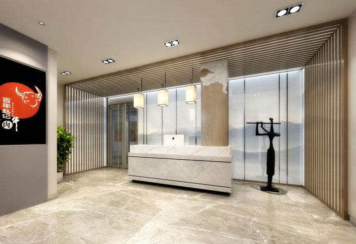 国际贸易公司办公室进门区装修设计效果图