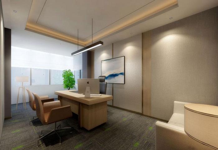 本次为国际贸易公司办公室装修设计效果图,办公室设计面积980平方,设计师在办公室设计中,以简约、时尚、人性化做为办公室设计关键词,目的就是希望为企业营造一个舒适的办公室设计方案。   办公室进门区