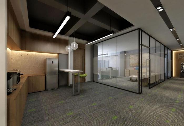 国际贸易公司办公室茶水间装修设计效果图