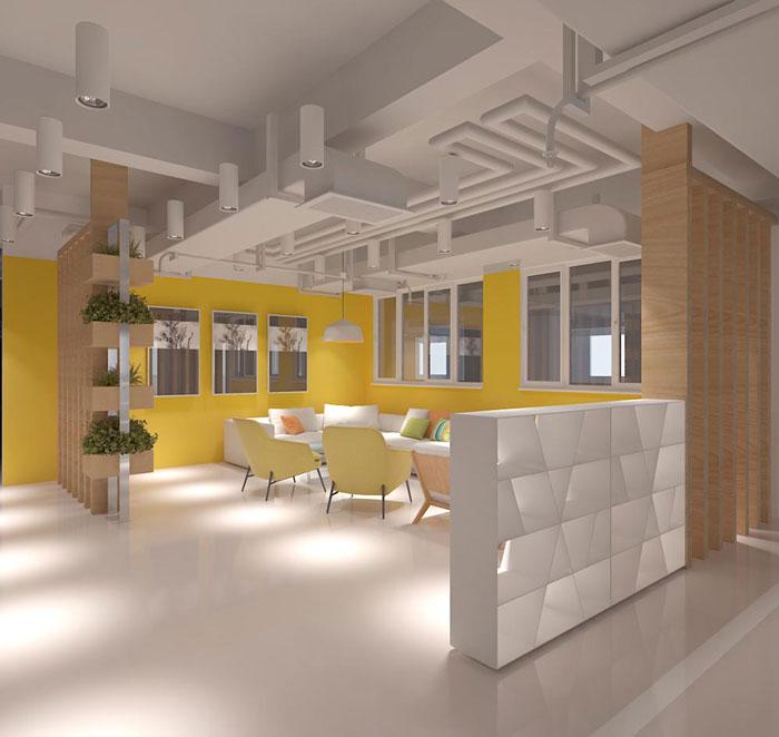 网络科技公司办公室洽谈区装修设计效果图