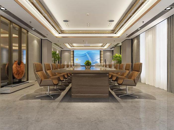 新中式办公室会议室装修设计效果图
