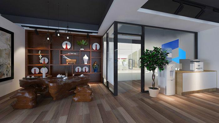 初创企业办公室接待区装修设计方案效果图