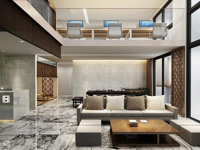 loft风格办公室接待区装修设计效果图