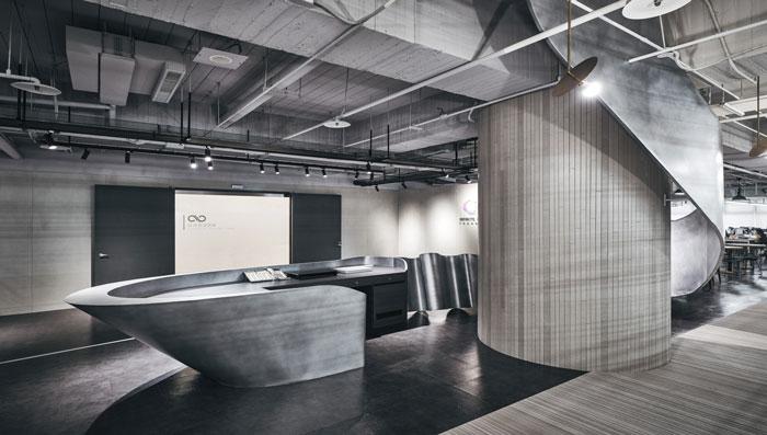 科技公司办公室前台装修设计效果图图片