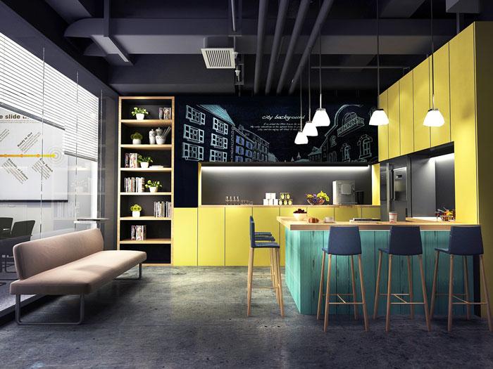 轻工业风格办公室茶水间装修设计效果图
