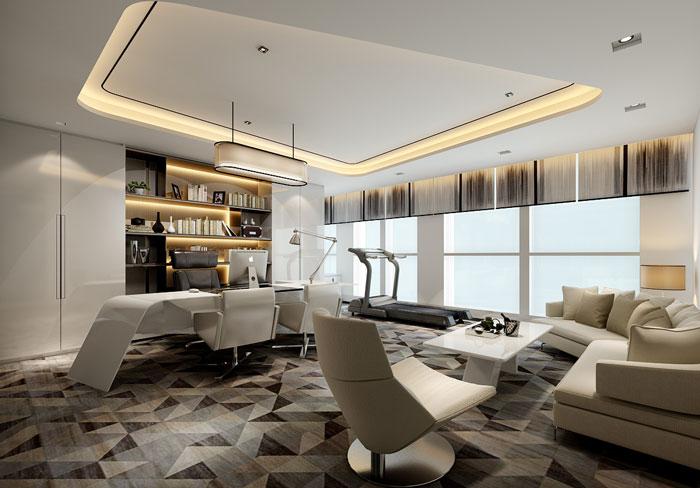 本次为办公室总部装修设计效果图,办公室设计面积2300平方,设计师在办公室设计中,以简约、舒适、自然为办公室设计关键词,目的就是希望打造一个,适合企业发展的办公室设计方案。   办公室前台
