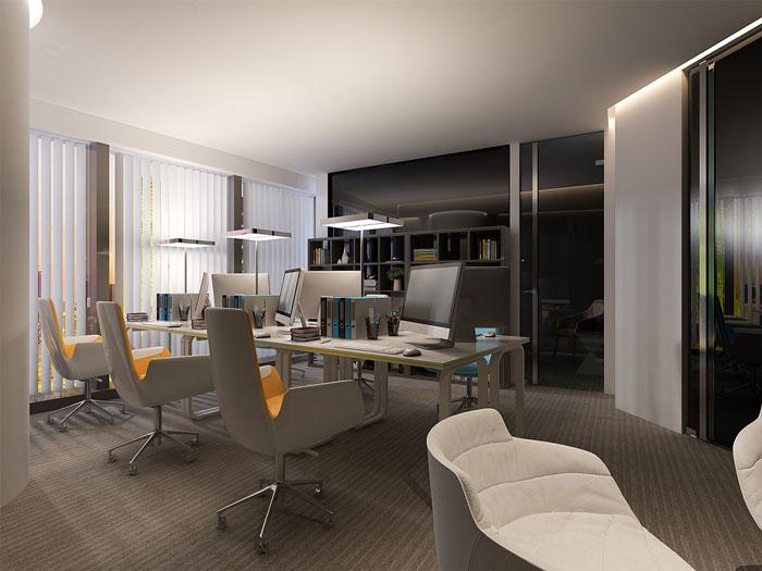 本次为集团公司办公室装修设计效果图,办公室设计面积4000平方,设计师在办公室设计中,以时尚、创意、极简为办公室设计关键词,目的就是希望为集团营造一个科技感、时尚感并存的办公空间。   办公室前台