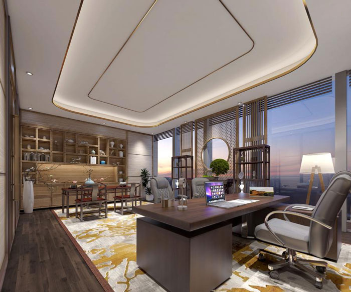 杭州老余杭董事长办公室装修设计方案