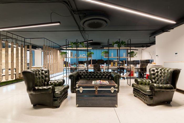 家具厂房办公室接待区装修设计效果图