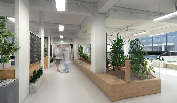 创客空间办公室过道绿植装修设计效果图