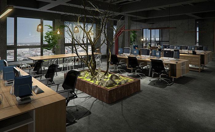 复古办公室装修设计效果图