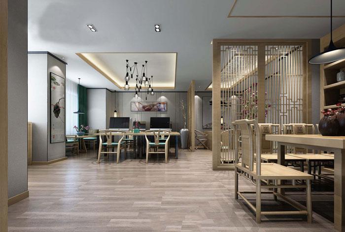 中式禅意办公室装修效果图四十平米的婚纱店设计图图片