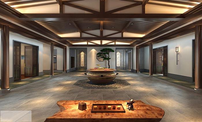 中式办公室前台设计装修效果图图片