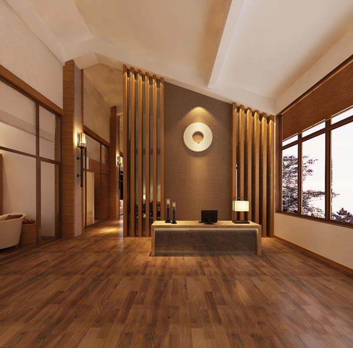 中式风格办公室前台效果图图片