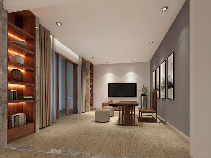 现代中式办公室装修效果图_岚禾设计