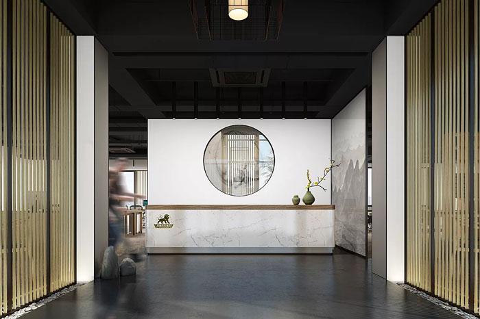新中式办公室前台设计方案