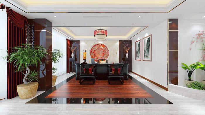 新中式董事长办公室装修效果图