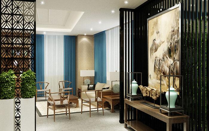 现代中式办公室茶室装修效果图