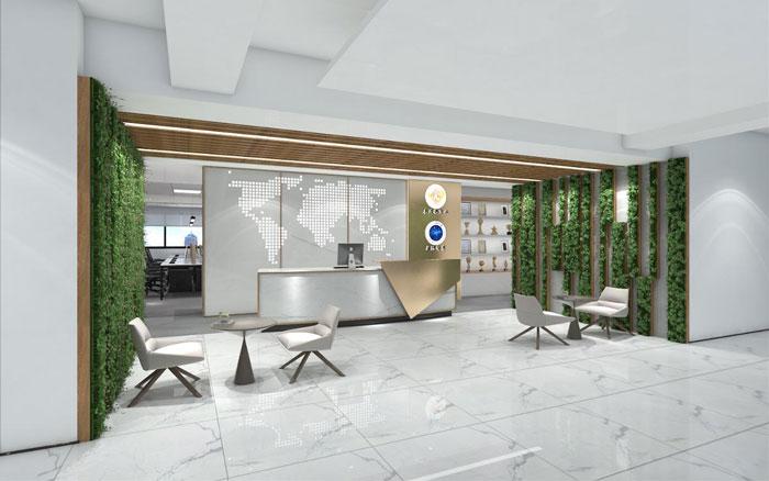 新中式办公楼前台装修设计效果图