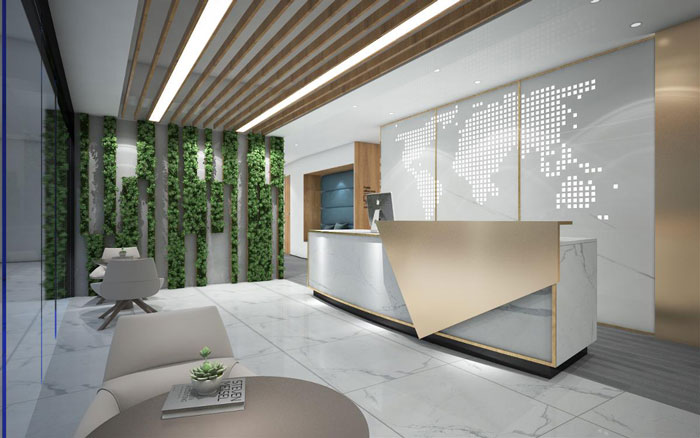 新中式办公楼接待区装修设计效果图